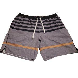 Vuori Athletic Stretch Drawstring Shorts   Grey / Orange / Black Men's 34 Waist